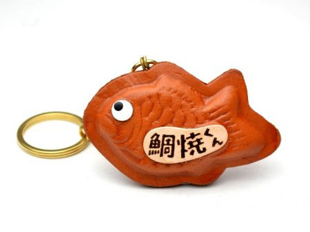 FISH SHAPED PANCAKE LEATHER KEYCHAIN VANCA
