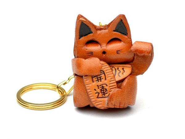 LUCKY CAT LEATHER KEYCHAIN VANCA