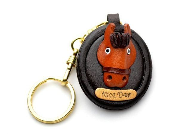 HORSE HEAD OVAL PLATE LEATHER KEYCHAIN VANCA