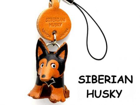 SIBERIAN HUSKY LEATHER CELLULARPHONE CHARM VANCA