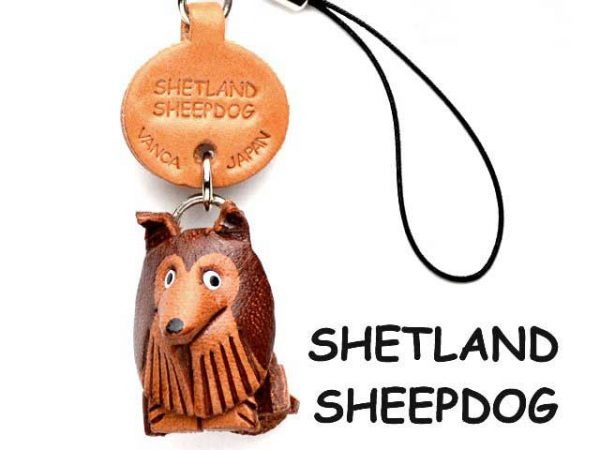 SHETLAND SHEEPDOG LEATHER CELLULARPHONE CHARM VANCA