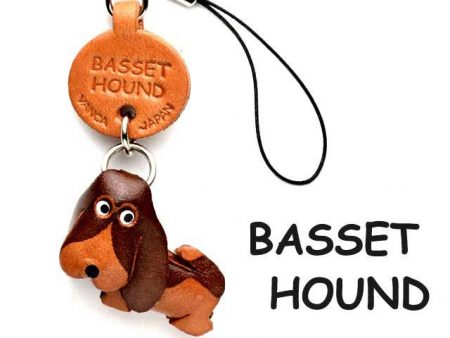 BASSET HOUND LEATHER CELLULARPHONE CHARM VANCA