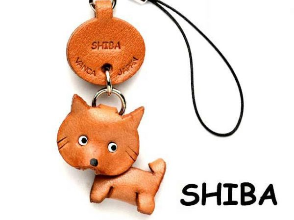 SHIBA DOG LEATHER CELLULARPHONE CHARM VANCA