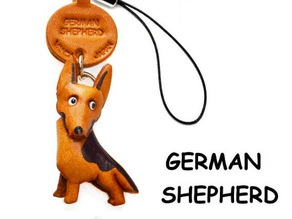GERMAN SHEPHERD LEATHER CELLULARPHONE CHARM VANCA