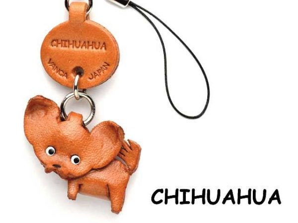 CHIHUAHUA LEATHER CELLULARPHONE CHARM VANCA