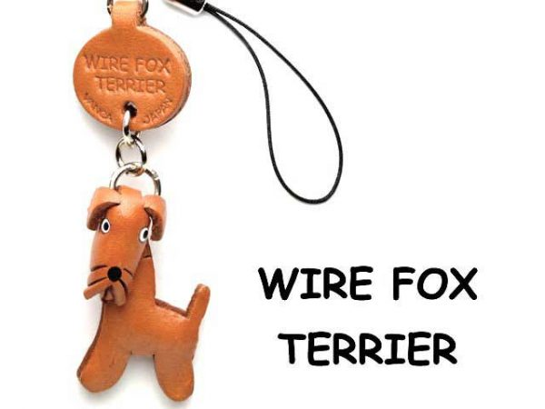 WIRE FOX TERRIER LEATHER CELLULARPHONE CHARM VANCA