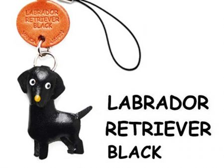 LABRADOR RETRIEVER BLACK LEATHER CELLULARPHONE CHARM VANCA