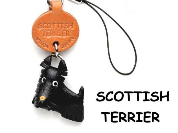 SCOTTISH TERRIER LEATHER CELLULARPHONE CHARM VANCA