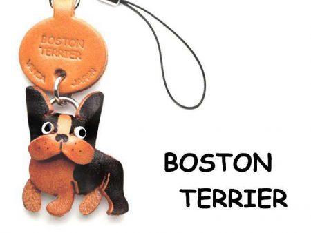 BOSTON TERRIER LEATHER CELLULARPHONE CHARM VANCA