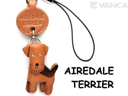 AIREDALE TERRIER LEATHER CELLULARPHONE CHARM VANCA