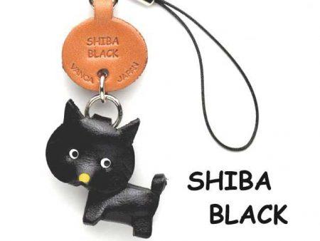 SHIBA DOG BLACK LEATHER CELLULARPHONE CHARM VANCA