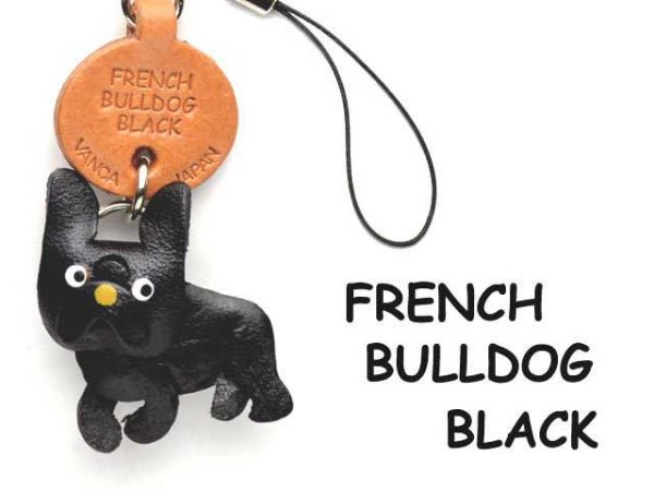 FRENCH BULLDOG BLACK LEATHER CELLULARPHONE CHARM VANCA