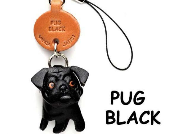 PUG BLACK LEATHER CELLULARPHONE CHARM VANCA