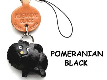 POMERANIAN BLACK LEATHER CELLULARPHONE CHARM VANCA