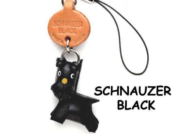 SCHNAUZER BLACK LEATHER CELLULARPHONE CHARM VANCA