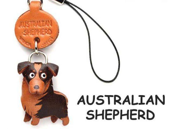 AUSTRALIAN SHEPHERD LEATHER CELLULARPHONE CHARM VANCA