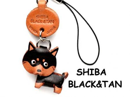 SHIBA DOG BLACK&TAN LEATHER CELLULARPHONE CHARM VANCA