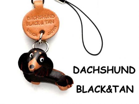 DACHSHUND LONG B&T LEATHER CELLULARPHONE CHARM VANCA