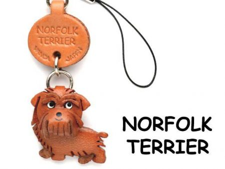 NORFOLK TERRIER LEATHER CELLULARPHONE CHARM VANCA