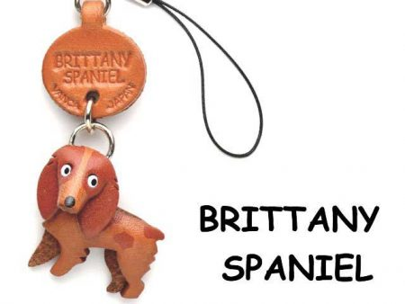BRITTANY SPANIEL LEATHER CELLULARPHONE CHARM VANCA