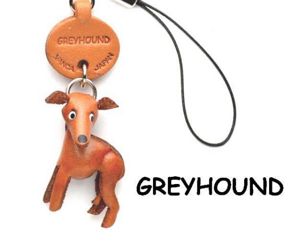 GREYHOUND LEATHER DOG CELLULARPHONE CHARM VANCA