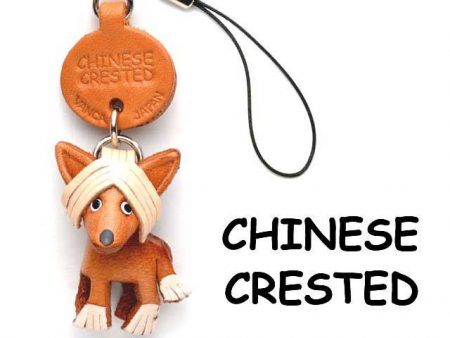 CHINESE CRESTED LEATHER CELLULARPHONE CHARM VANCA