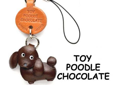 TOY POODLE CHOCOLATE BROWN LEATHER CELLULARPHONE CHARM VANCA