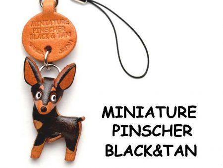 MINI PINSCHER BLACK&TAN LEATHER CELLULARPHONE CHARM VANCA