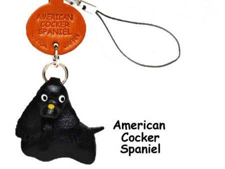 AMERICAN COCKER SPANIE BLACK LEATHER CELLULARPHONE CHARM VANCA