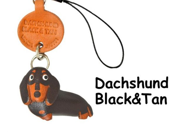 DACHSHUND SMOOTH BLACK&TAN DOG LEATHER CELLULARPHONE CHARM VANCA