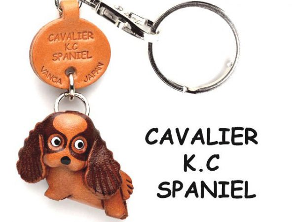 CAVALIER K.C.SPANIEL LEATHER DOG KEYCHAIN VANCA