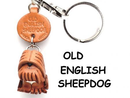 OLD ENGLISH SHEEPDOG LEATHER DOG KEYCHAIN VANCA