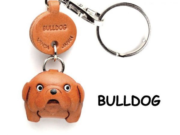 BULLDOG LEATHER DOG KEYCHAIN VANCA