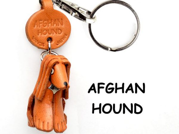 AFGHAN HOUND LEATHER DOG KEYCHAIN VANCA