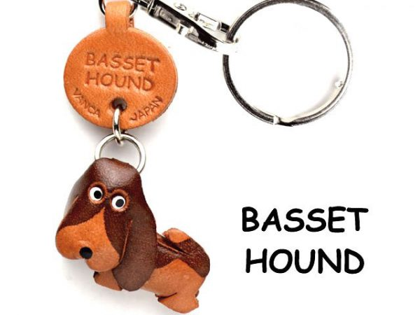 BASSET HOUND LEATHER DOG KEYCHAIN VANCA