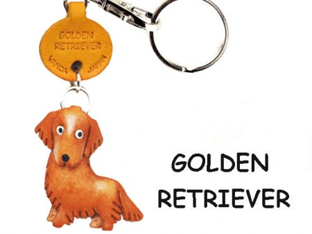 GOLDEN RETRIEVER LEATHER DOG KEYCHAIN VANCA