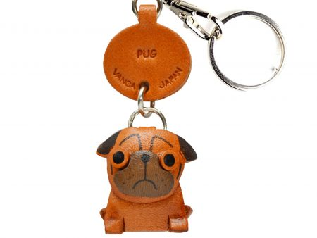 PUG LEATHER DOG KEYCHAIN