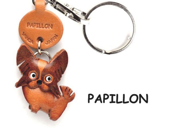 PAPILLON LEATHER DOG KEYCHAIN VANCA