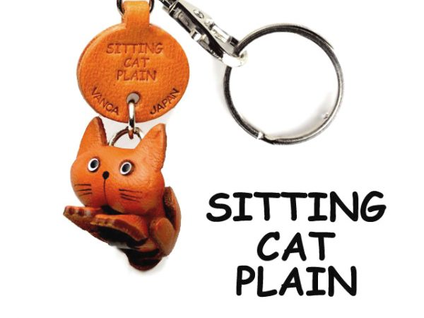 PLAIN SITTING JAPANESE LEATHER KEYCHAINS CAT VANCA