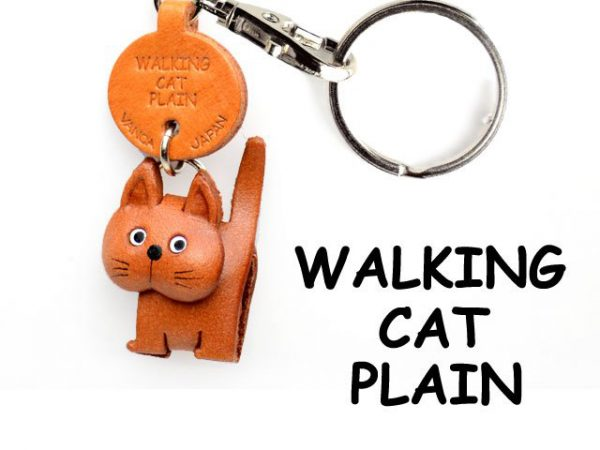 PLAIN WALKING JAPANESE LEATHER KEYCHAINS CAT VANCA