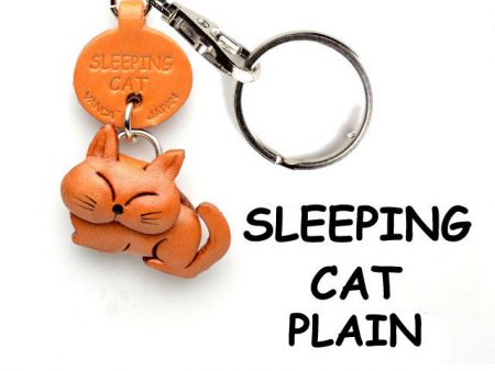PLAIN SLEEPING JAPANESE LEATHER KEYCHAINS CAT VANCA
