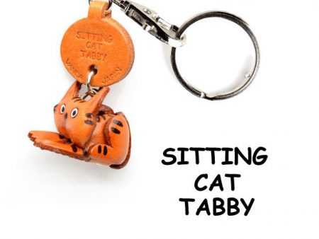 TABBY SITTING JAPANESE LEATHER KEYCHAINS CAT VANCA