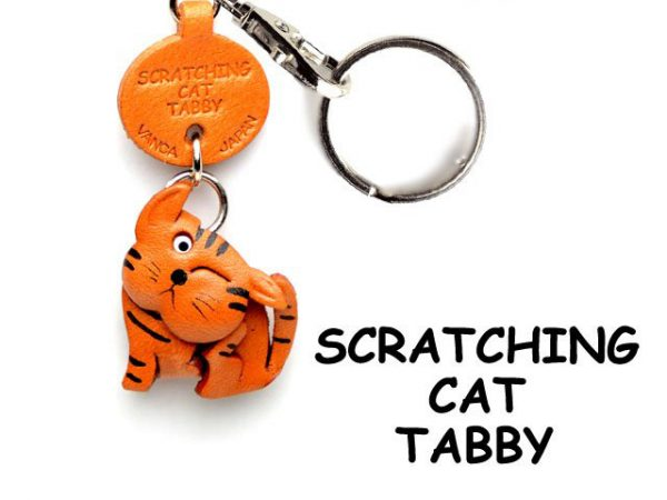 TABBY SCRATCHING JAPANESE LEATHER KEYCHAINS CAT VANCA