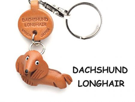 DACHSHUND LONGHAIR LEATHER DOG KEYCHAIN VANCA