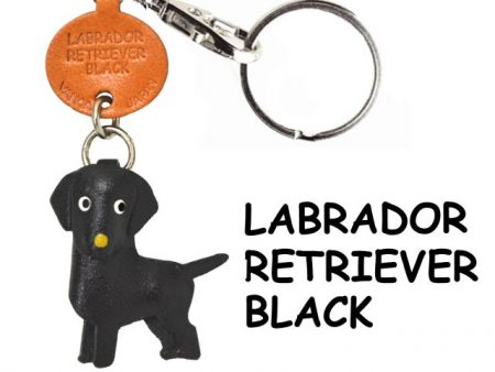 LABRADOR RETRIEVER BLACK LEATHER DOG KEYCHAIN VANCA