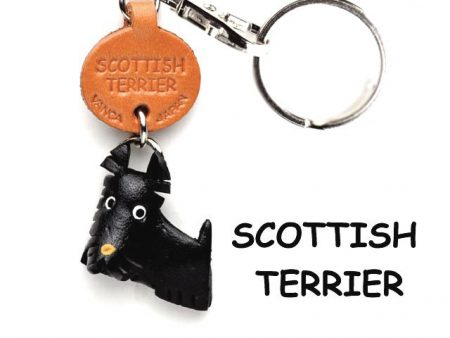 SCOTTISH TERRIER LEATHER DOG KEYCHAIN VANCA