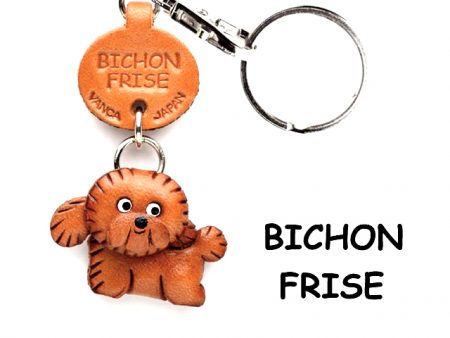 BICHON FRISE LEATHER DOG KEYCHAIN VANCA