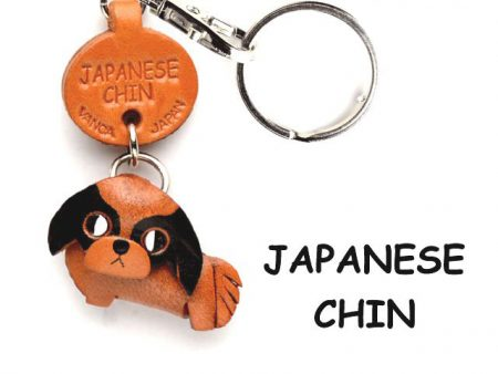 JAPANESE CHIN LEATHER DOG KEYCHAIN VANCA