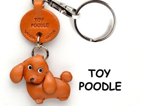 TOY POODLE LEATHER DOG KEYCHAIN VANCA