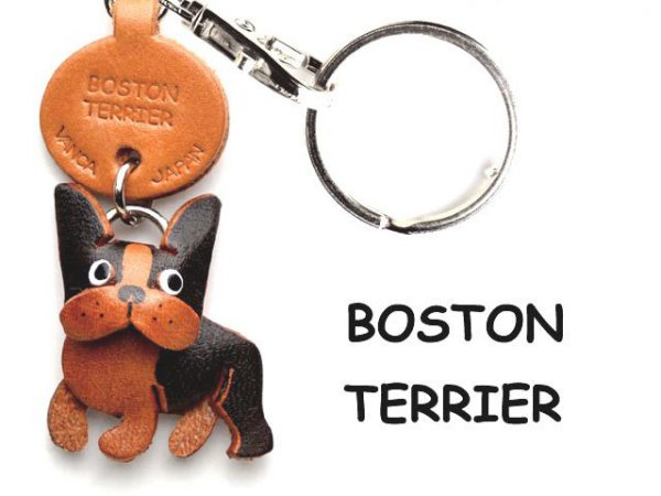 BOSTON TERRIER LEATHER DOG KEYCHAIN VANCA
